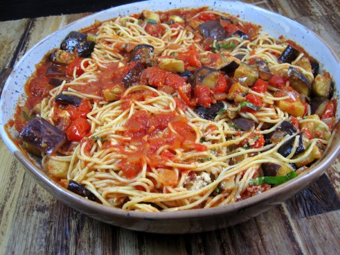 Spaghetti with Roasted Eggplant and Tomatoes - Just the Tip